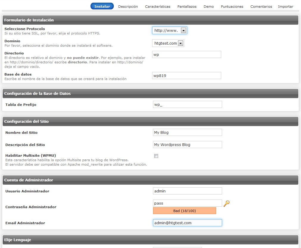 autoinstalacion WordPress