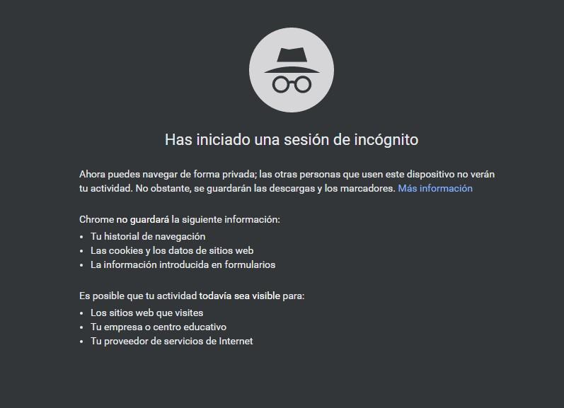 navegador incognito