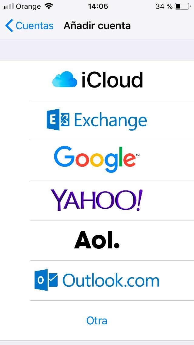 configurar email iphone